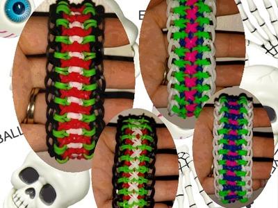 """My NEW Reversible """"Skeletor"""" Rainbow Loom Bracelet. How  To Tutorial"""