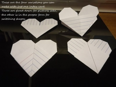 ORIGAMI Moving Index Card Heart Part 1, Super easy