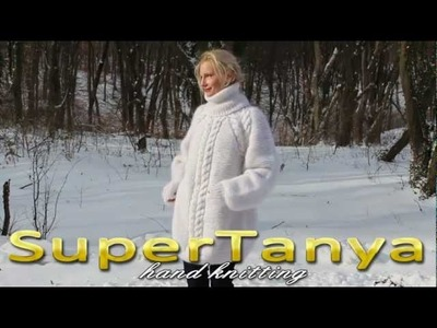 10.12.2012 Hand knitted white mohair turtleneck sweater with raglan sleeves and cables by SuperTanya