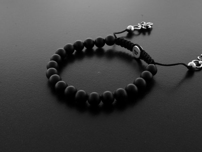 Designer little bead shamballa bracelet with silver and onyx beads by ©CHULYAKOV NEW YORK