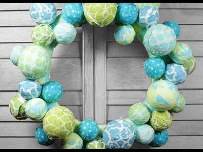 DIY Fabric Ball Wreath Tutorial