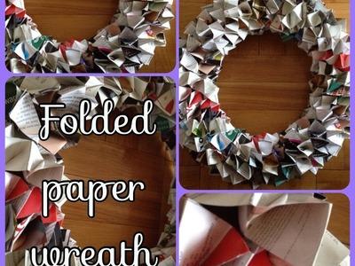 DIY: Folded Paper Wreath  ♡ Theeasydiy #DoorDecor