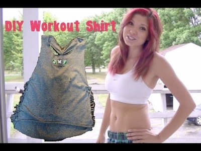 DIY Workout t-shirt (t-shirt cutting)