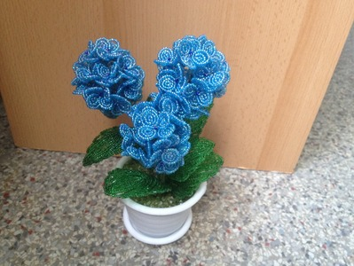 Hortensie aus Glasperlen. Teil 1.2. Beaded flowers. Beads