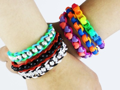 How to make a single chain rubber band bracelet with beads in 5 minutes