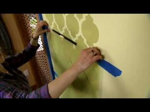 How to Stencil a Feature Wall Using a Wall Stencil by Cutting Edge Stencils. DIY accent wall decor.
