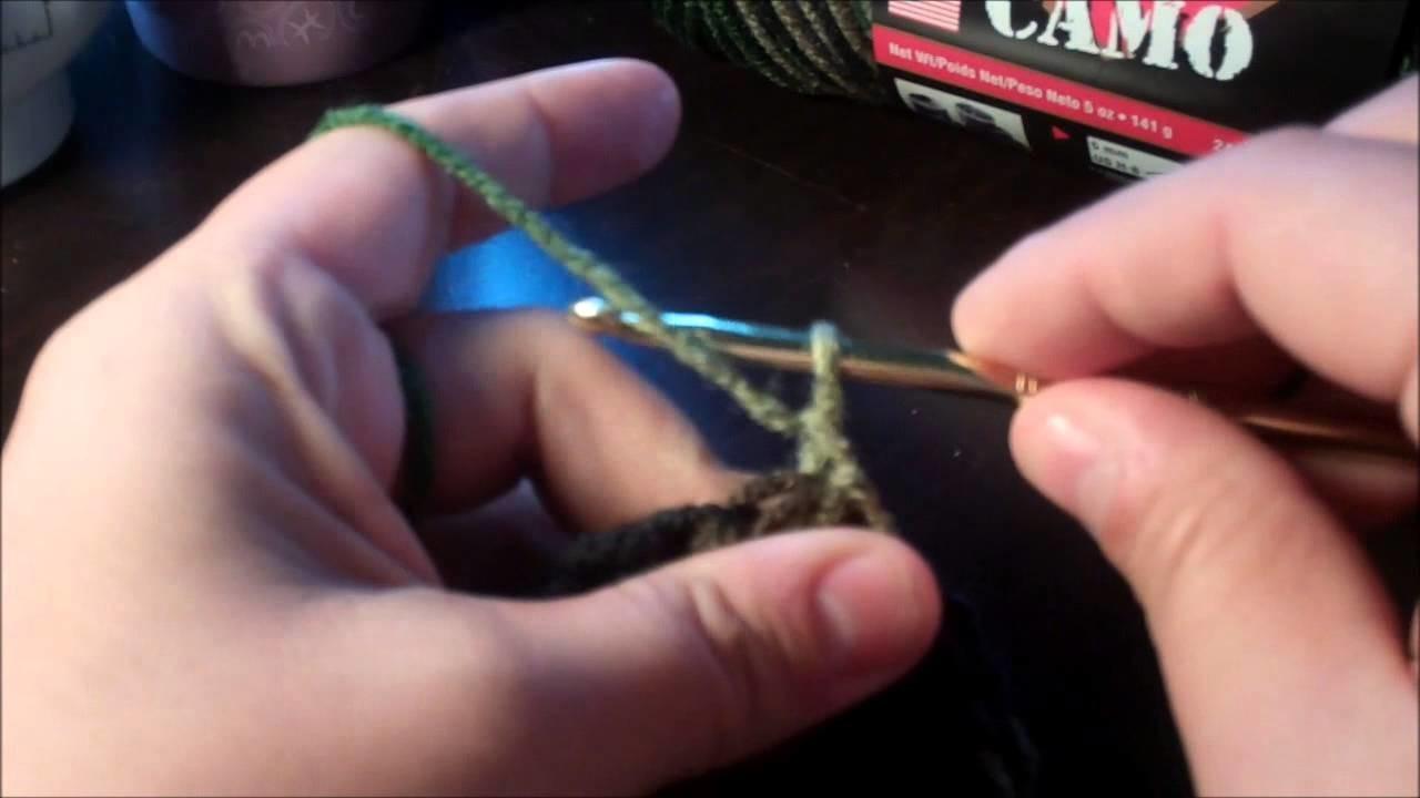 Tutorial-How to Crochet Army.Camo Double Crochet beanie.