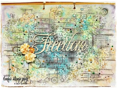 Tutorial Mixed Media Art Journal Page for Lindy's Stamp Gang Freedom