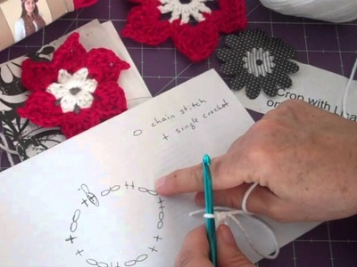 6 Petal Star Flower Part 2 - Crochet for Cards