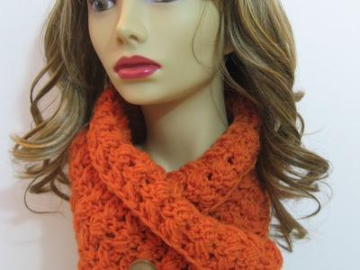 Crochet criss cross cowl with buttons