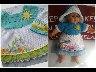 Crochet dress with Flower applique - baby