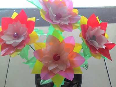 DIY craft - how to make flowers from plastic