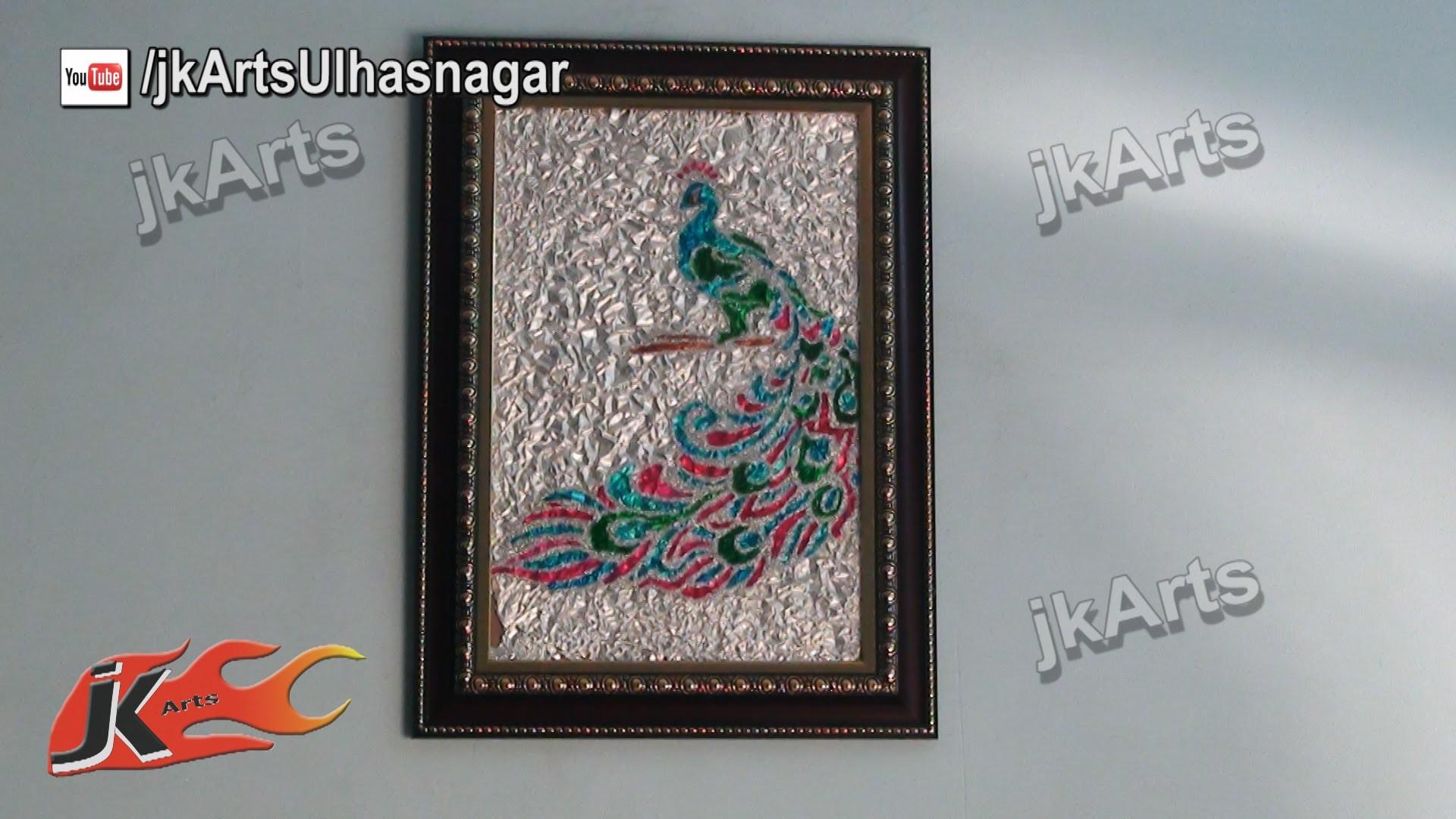 DIY Peacock Glass Painting Wall Piece - JK Arts 407