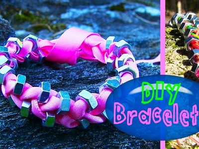 DIY String & Ribbon Bracelet with Beads. How to Make Bracelets for Beginners - Easy & Simple