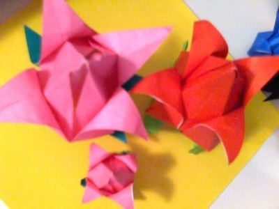 Easy Step . ORIGAMI TULIP