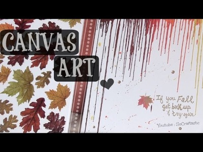 FALL Canvas Art - Crayon Melting & Leaves - How To - Room. Home Decor DIY