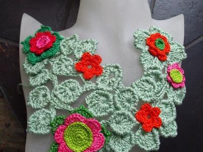 Freeform crochet bib necklace by Fibreromance