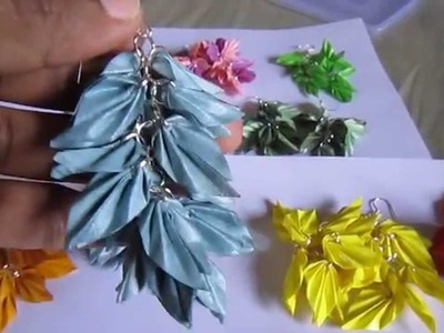 Handmade Jewelry - Origami Paper Leaves Earrings (Not Tutorial)