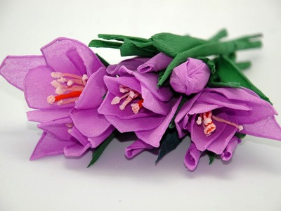 Handmade paper flowers - crocuses. Tissue flowers DIY