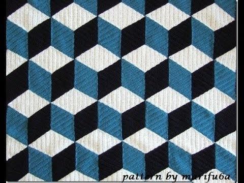 How to crochet 3D blanket afghan or rug free pattern tutorial seminario del modelo libre l