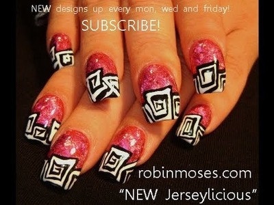 Nail Art Tutorial | DIY Jerseylicious Nails | Pink Foil with Abstract Art Design