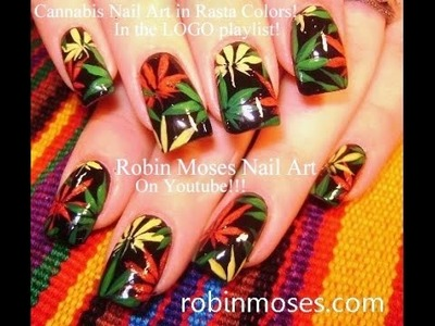 Nail Art Tutorial | DIY Pot Leaf Nail Art Design | Rasta Nails