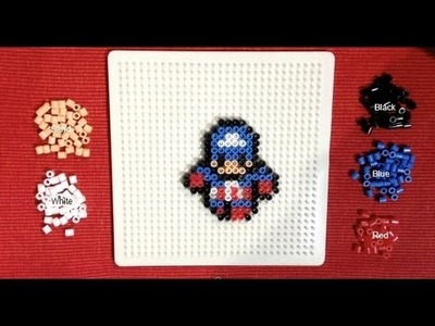 Perler Bead Tutorial: Mini Avengers (Captain America)