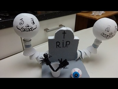 Recycled Crafts for Halloween: Skeletons out of Plastic Bottles in the Cemetery