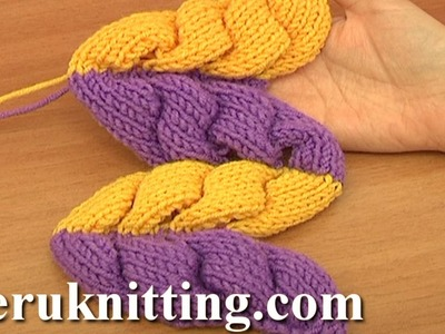 3D Knit Wheat Ear Stitch Pattern Tutorial 9 Part 2 of 2 3D Wheat Ear Motif