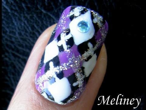 Back to School Nail Art Tutorial Diamond Plaid Woollies Pattern Design for Short Nails DIY