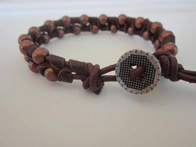 Chan Luu style Bracelet with metal Beads and Leather Ribbon