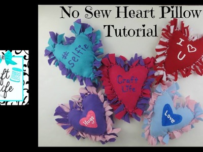 Craft Life No Sew Felt Fleece or T-Shirt Heart Pillow Tutorial