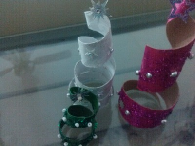 DIY Adorno para pinito de navidad. Christmas ornament tree from toilet paper roll