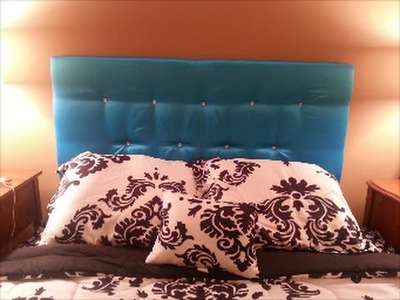 DIY: Easy Upholstered.Tufted Floating Headboard w.Crystal Buttons Bling (Cardboard) **UNDER $50!**!