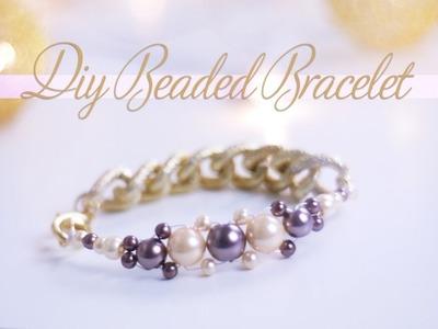 DIY Elegant Purple and Golden Beaded Bracelet | Nekkoart