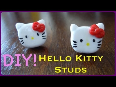 DIY Hello Kitty Stud Earrings (using Sculpey)