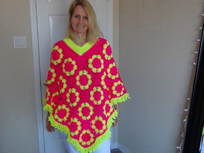 How to Crochet a Granny Square Poncho Part 1