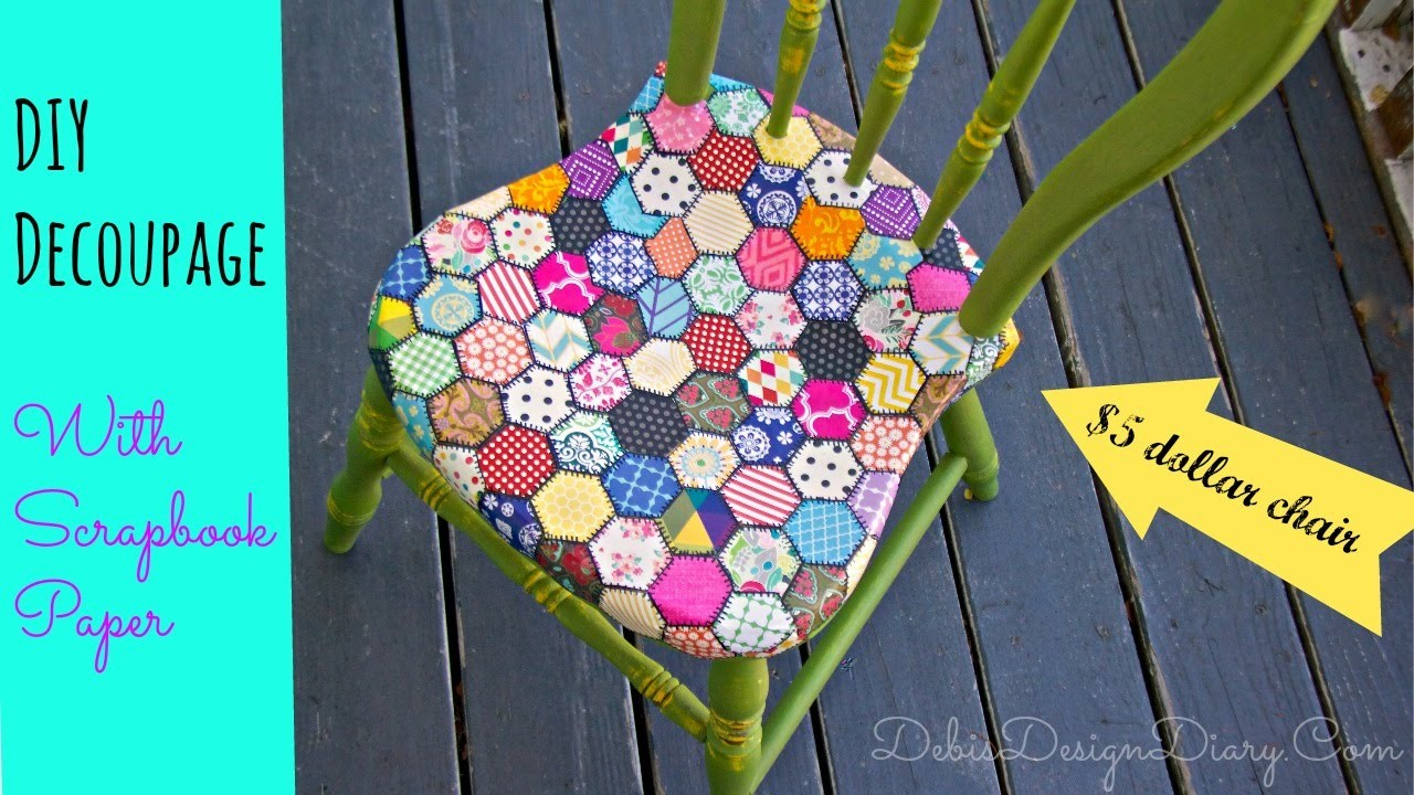 How to Decoupage a chair in a Quilt pattern with scrapbook paper and 2 oz of chalk type paint