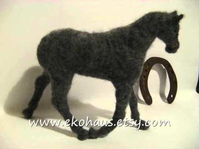 Making needle felted horse with beaded horseshoes