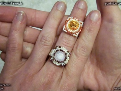 BeadsFriends: Beaded bezel tutorial - How to bezel a Swarovski square crystal - Beaded ring