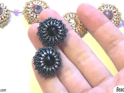 BeadsFriends: Rays beaded bezel crystals - Necklace and a pair of black earrings | Beaded Jewellery