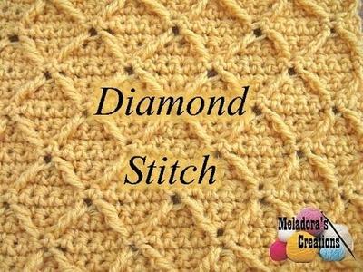 Diamond Stitch - Left Handed Crochet Tutorial