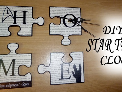 "DIY ""GEEK CHIC"" Star Trek Puzzle Pieces Home Decor. Wall ART ""HOME"" Clock"