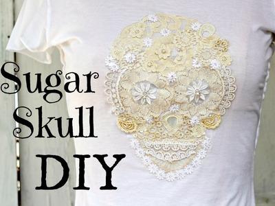 DIY Sugar Skull T- shirt from Vintage lace.