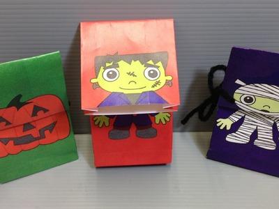 Halloween Origami Bags - Frankenstein, Mummy, Jack-o-Lantern