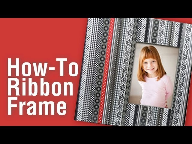 How-To Make a Patterned Frame with Ribbons and Scrapbook Paper.