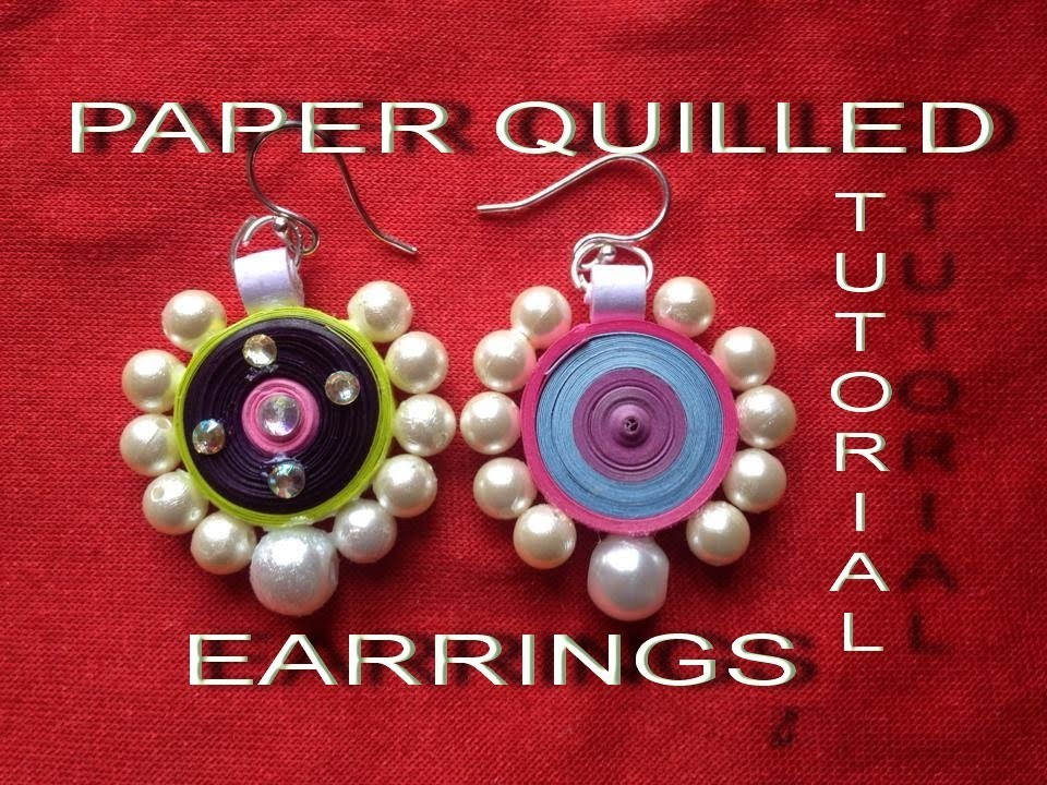 How to make paper quilling earrings easy method design-3 - Tutorial