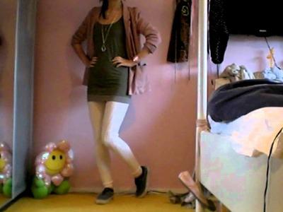 Julia's fashion minute: knitted legging, green top, white dress, blazer & Autumn