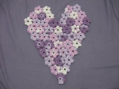 Puff Flower Heart -  Left Handed Crochet Tutorial