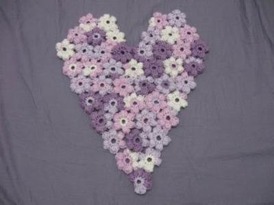Puff Flower Heart -  Left Handed Crochet Tutorial